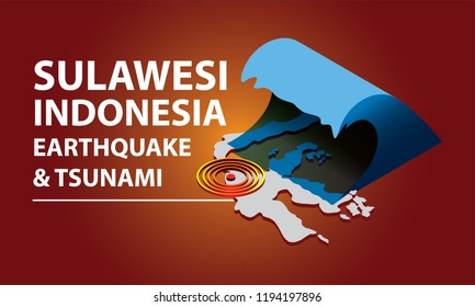 Sulawesi Indonesia earthquake and tsunami text with isometric illustration of tsunami wave and earthquake signal hitting on the Sulawesi map.