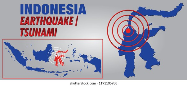 Sulawesi / Indonesia - September 30, 2018: Nature Disaster Warning in Sulawesi