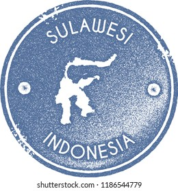 Sulawesi map vintage stamp. Retro style handmade label, badge or element for travel souvenirs. Light blue rubber stamp with island map silhouette. Vector illustration.