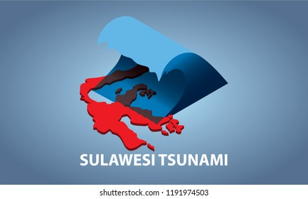 Sulawesi tsunami isometric illustration. eps 10 vector