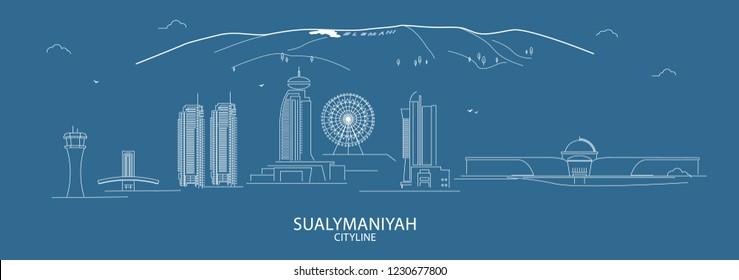 Sulaymaniyah city Skyline vector line art,