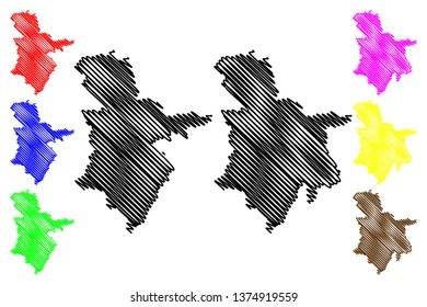 Sulaymaniyah Governorate (Republic of Iraq, Governorates of Iraq) map vector illustration, scribble sketch Sulaymaniyah Province map