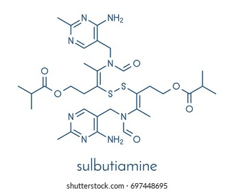 Sulbutiamine asthenia drug molecule. Also used in nutritional supplements. Skeletal formula.