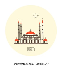 Suleymaniye Mosque or Selimiye Mosque, landmark Turkey of Edirne city, cartoon vector illustration isolated on backdrop, travel icon, decorative color sign building, line art for design advertising