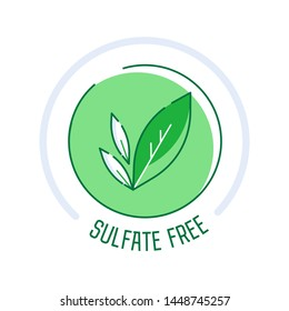 Sulfate Free icon set. Set of eco badges. Free from artificial ingredients, pesticide, phosphate logos. For cosmetics, organic food, packaging. Vector illustration