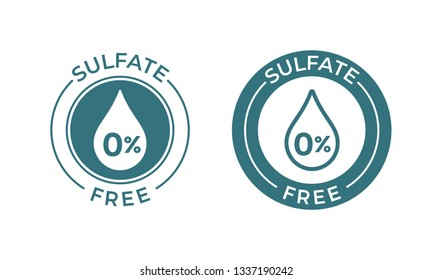 Sulfate free vector icon. Vector sodium and sulfate free product label, drop 0 percent warranty seal