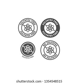 Sulfates free and no sulfates food ingredient circle label icon set. Sulfates free vector badge sticker set for packaging.