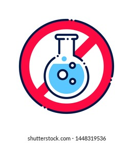 Sulfites allergy line color icon. Allergic reaction. Caution sulfate. Chemical intolerance. Hypersensitivity to the individual components of the product. Sign for web page, mobile app, button, logo.