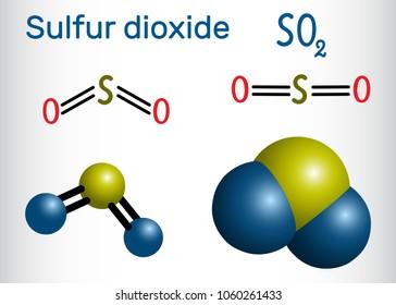 Sulfur dioxide (sulphur dioxide, SO2) molecule. Structural chemical formula and molecule model. Vector illustration