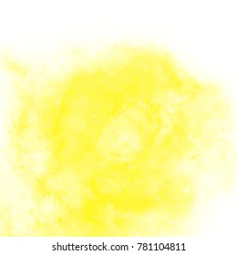 sulfur yellow watercolor cloud pattern with spiral center on white background, vector illustration