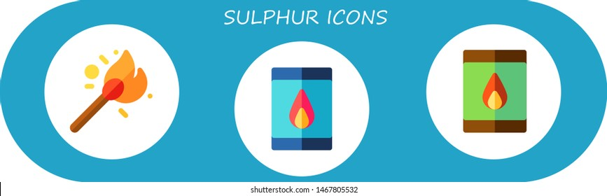 sulphur icon set. 3 flat sulphur icons.  Simple modern icons about  - matches, matchbox