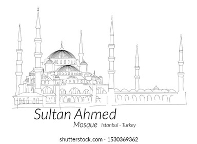 Sultan Ahmed Mosque or Blue Mosque in Istanbul Turkey with Hand drawn sketch. Vector illustration.