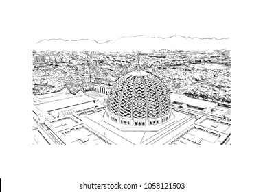 Sultan Qaboos Grand Mosque in Muscat, Oman. Hand drawn sketch illustration in vector.