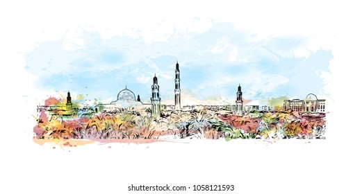 Sultan Qaboos Grand Mosque in Muscat, Oman. Watercolor splash with Hand drawn sketch illustration in vector.