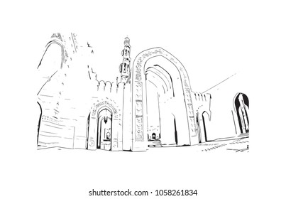 Sultan Qaboos Grand Mosque in Muscat, Oman. Ramadan Kareem and Eid Mubarak template design. Hand drawn sketch illustration in vector.