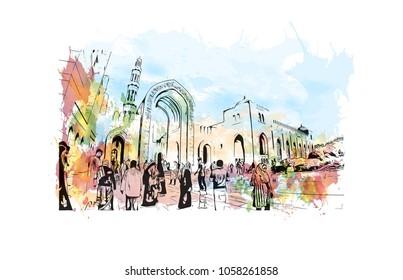 Sultan Qaboos Grand Mosque in Muscat, Oman. Ramadan Kareem and Eid Mubarak template design. Watercolor splash with Hand drawn sketch illustration in vector.