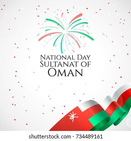 Sultanat of Oman national day 18 november background with waving flag, balloon, confetti with national colors. Green, red, white. Template design layout for card, banner, poster, flyer, card.