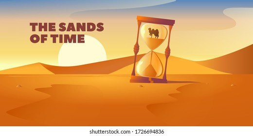 sultry sand desert at sunset with a mirage of sand hours