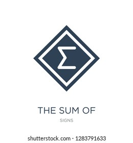 the sum of icon vector on white background, the sum of trendy filled icons from Signs collection, the sum of vector illustration