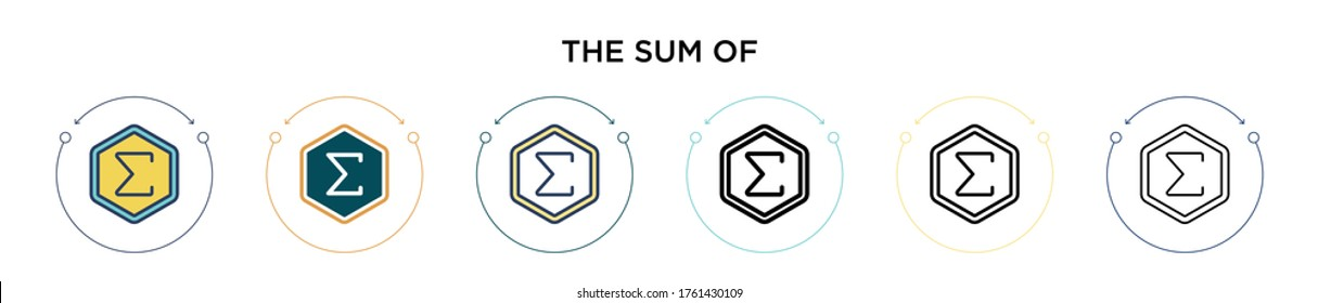 The sum of symbol icon in filled, thin line, outline and stroke style. Vector illustration of two colored and black the sum of symbol vector icons designs can be used for mobile, ui, web