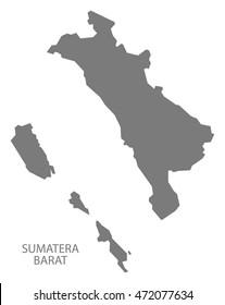 Sumatera Barat Indonesia Map in grey