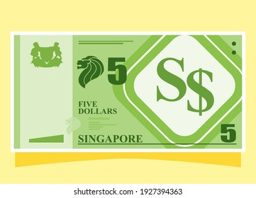 Sumatera Utara, Indonesia – March 2, 2021. 5 Singapore Dollar Banknotes Paper Money Vector Icon Flat Illustration. Singapore Business, Payment and Finance Element.