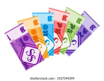 Sumatera Utara, Indonesia – March 2, 2021. Fan Shaped Stack of Singapore Dollar Banknotes in various value money Flat Vector Illustration. Singapore Business, payment and finance element.