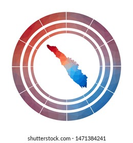 Sumatra badge. Bright gradient logo of island in low poly style. Multicolored Sumatra rounded sign with map in geometric style for your infographics.