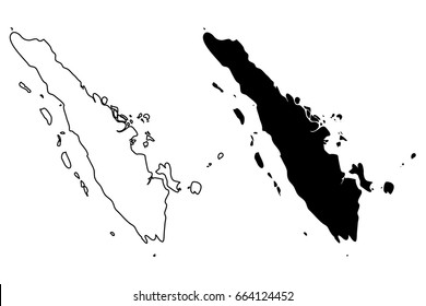 Sumatra map vector illustration, scribble sketch Sumatra