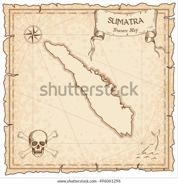 Sumatra Old Pirate Map Sepia Engraved Stock Vector (Royalty ... on