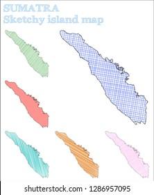 Sumatra sketchy island. Mind-blowing hand drawn island. Nice childish style Sumatra vector illustration.