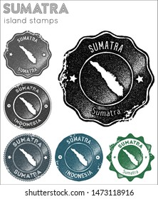 Sumatra stamps collection. Rubber stamps with island map silhouette. Vector set of Sumatra logo.