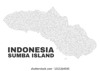 Sumba Island map designed with tiny dots. Vector abstraction in black color is isolated on a white background. Random tiny particles are organized into Sumba Island map.