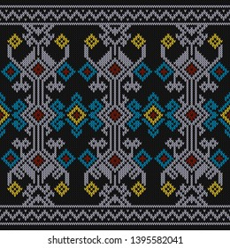Sumba Sweater Texture, Indonesia Traditional Pattern. Seamless Knitting Pattern Color