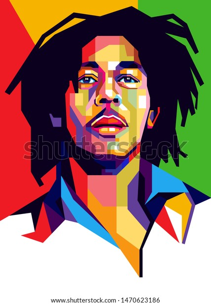 Sumbawa Besar, August 5, 2019: Bob Marley's colorful, bright background, green, red and yellow. - Vector.