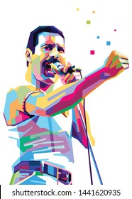 Sumbawa Besar, NTB, 4th of July 2019: illustrations of bright color freddie mercury sparkling with modern WPAP pop art styles. - Vector.