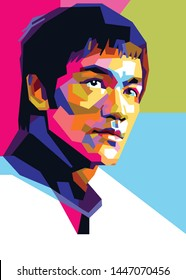 Sumbawa Besar, NTB, July 10, 2019: contemporary pop art style, portrait of Bruce Lee with awesome colors. - Vector.