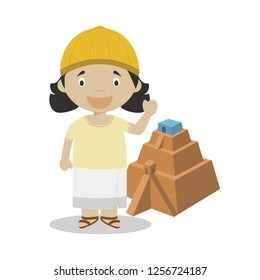 Sumerian cartoon character with ancient pyramid. Vector Illustration. Kids History Collection.