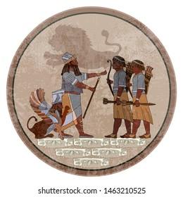 Sumerian civilization frescos. King, warrior and  Lamassu (winged lion). Hunting scene. Akkadian Empire. Mesopotamia. Gilgamesh legends. Middle East history. Ancient culture art