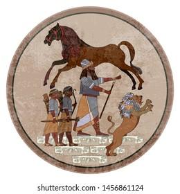 Sumerian civilization. King, lion and warrior. Hunting scene. Akkadian Empire. Mesopotamia. Gilgamesh legends. Middle East history. Ancient culture art