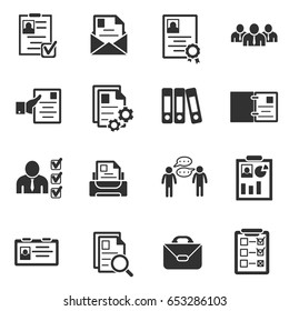 Summary icons set. Interview and hiring, simple symbols collection. Review resume. Reception staff for the vacant post, isolated vector monochrome illustrations