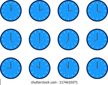Summary of the vector of blue simple office clock icon, telling the time from 1 o'clock to 12 o'clock on the white background