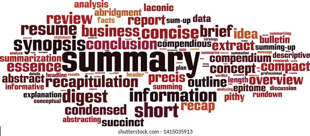 Summary word cloud concept. Collage made of words about summary. Vector illustration