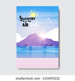 summe beach mountain sunrise badge Design Label. Season Holidays lettering for logo,Templates, invitation, greeting card, prints and posters. vector illustration