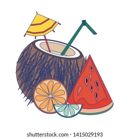 Summe coconut cocktail with watermelon orange and lemon vector illustration graphic design