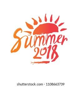 Summer 2018. Hand drawn inscription and sun. Vector design logo template.