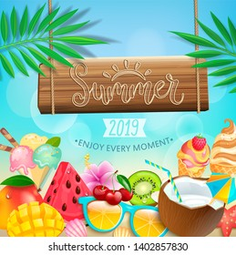 Summer 2019 greeting card on tropical bokeh background with ice cream, kiwi, mango, orange, coconut, watermelon and berries. Bright template for your design. Vector Illustration.