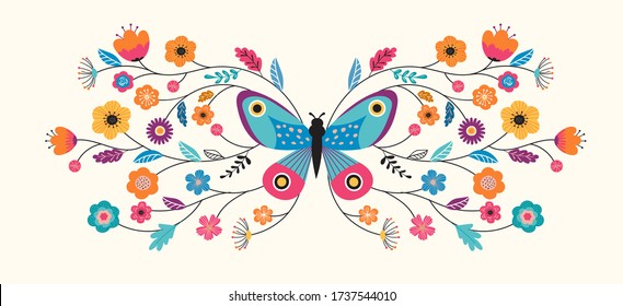Summer abstract background, banner design with butterfly and flowers