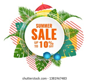 Summer abstract sale banner up to 10 % off. Seasonal design. Vector illustration.