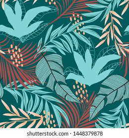 Summer abstract seamless pattern with colorful tropical leaves and plants on green background. Vector design. Jungle print. Floral background. Printing and textiles. Exotic tropics. Fresh design.